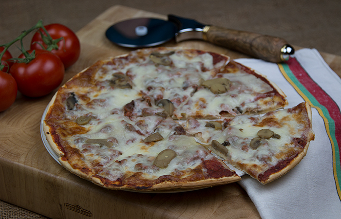 Sausage and Mushroom Frozen Pizza from Dina Mia Kitchens, Iron River, Michigan